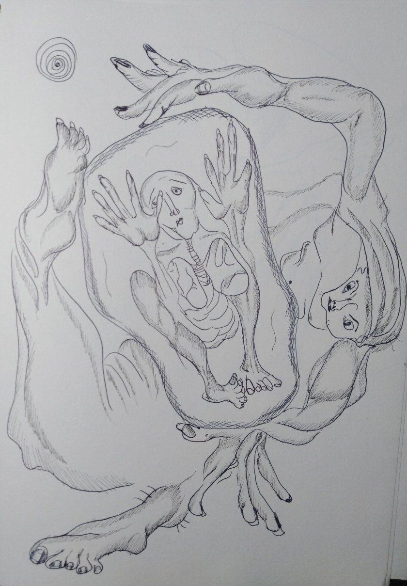 Tinta sobre papel por #artistaNairobiPrahl para Ucrania Fantástica - La canción del bosque - Acto III